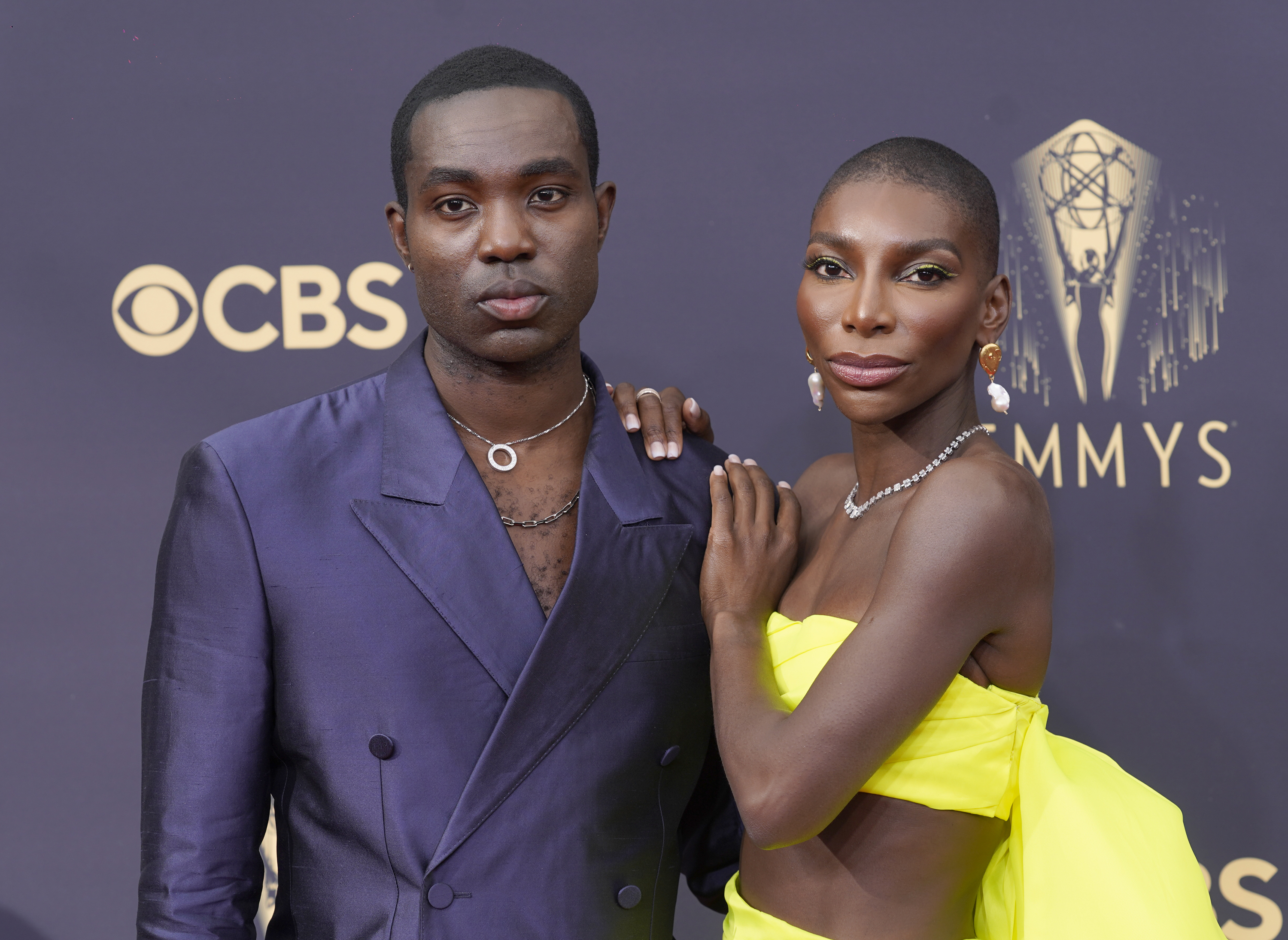 Paapa Essiedu, left, and Michaela Coel at the Emmys